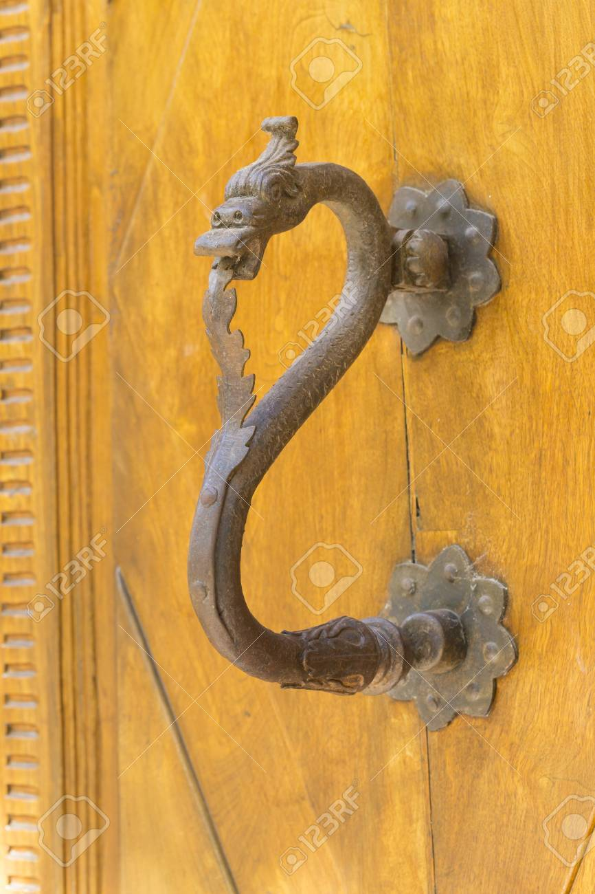 Wrought Iron Door Knocker Shaped Dragon Stock Photo   33053358