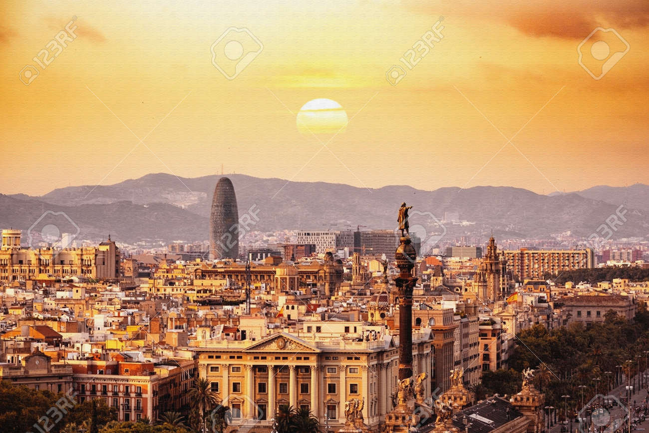 Barcelona Sunset City Background Wallpaper Stock Photo Picture And Royalty Free Image Image 125212116