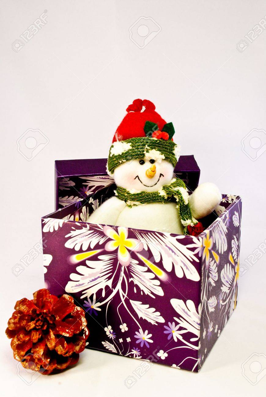 A toy snowman popping out of a purple gift box and a pine cone next to it Stock Photo - 8001164