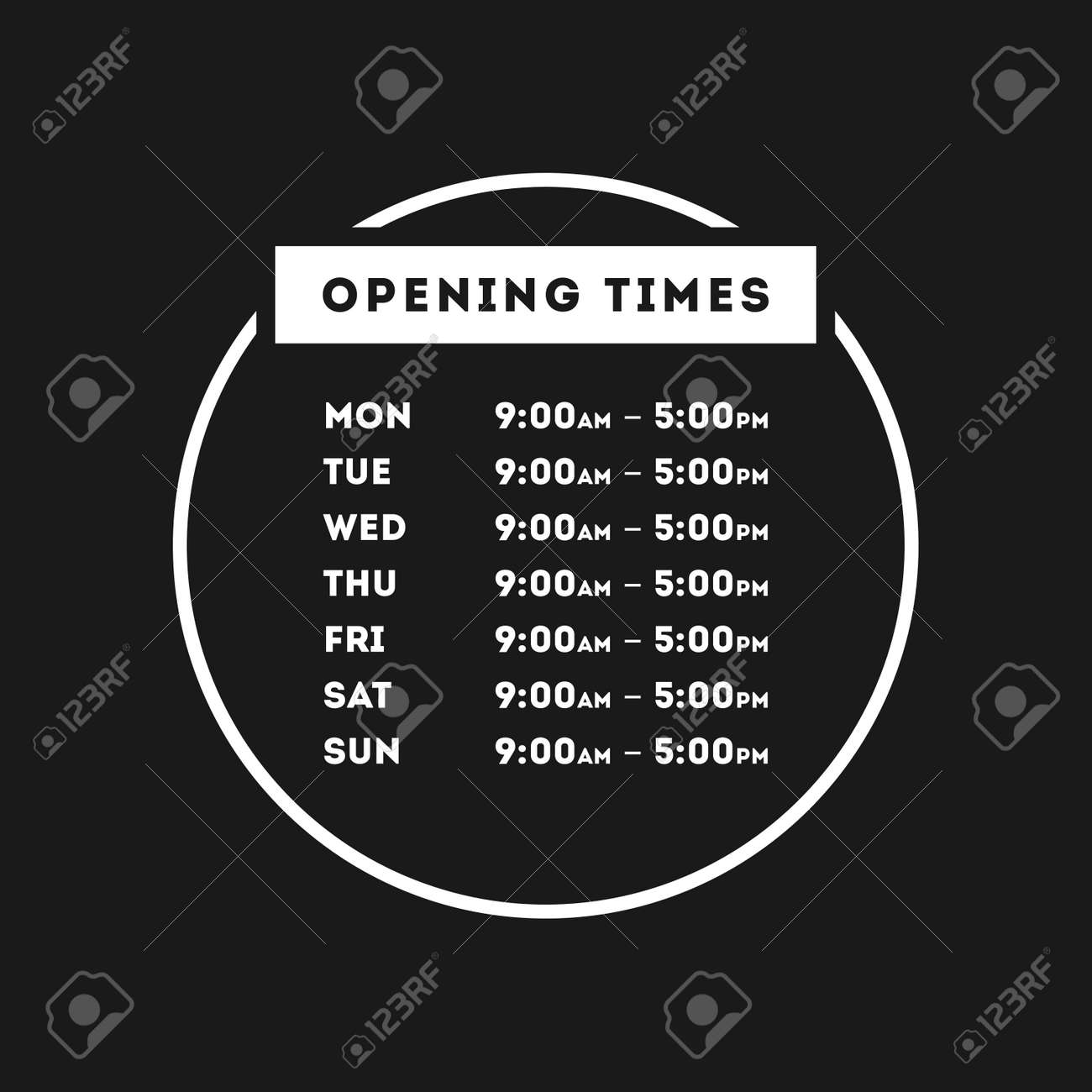 Transparent Vector Opening Time Hours Window Sticker Retail - 105673416