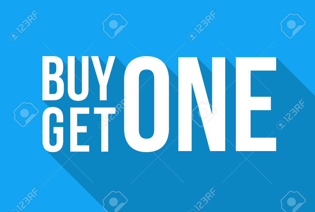 Blue Shop Vector Sign For A Buy One Get One Free Off Clearance Winter Sale - 112378862