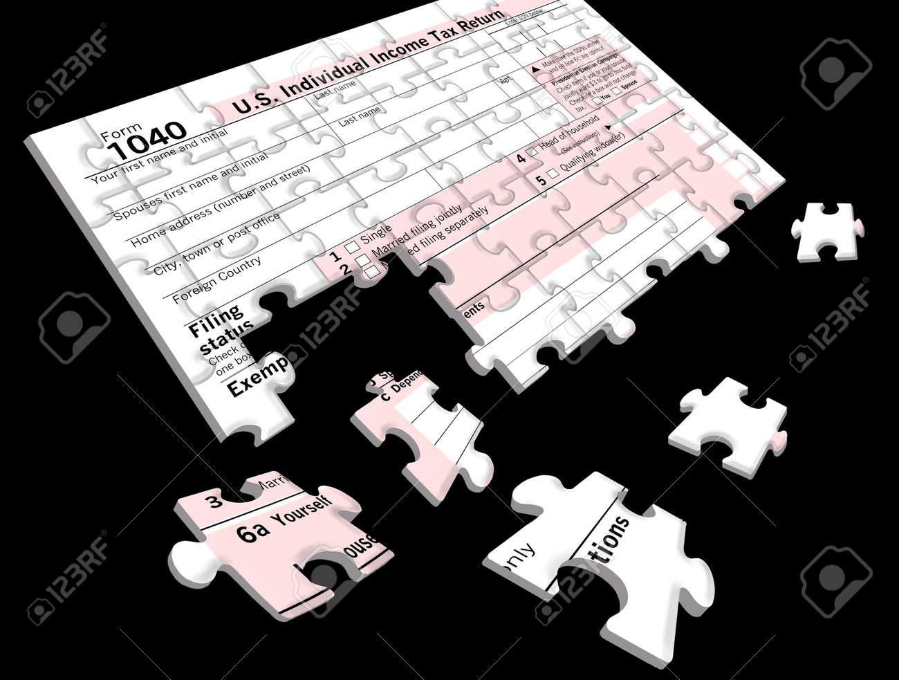form 1040 jigsaw puzzle  Stock Illustration