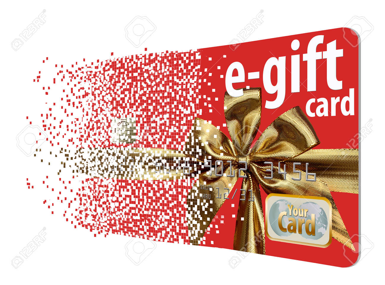 A virtual gift card assimilates from a field of pixels to illustrate the virtual aspect of
