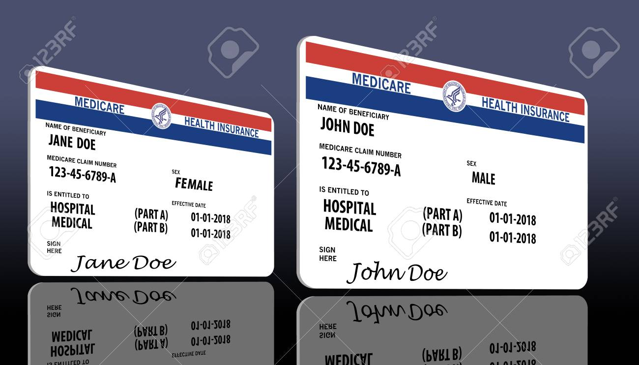This illustration is a mock, generic U.S. government Medicare Health Insurance card. Isolated on the background. - 110842243