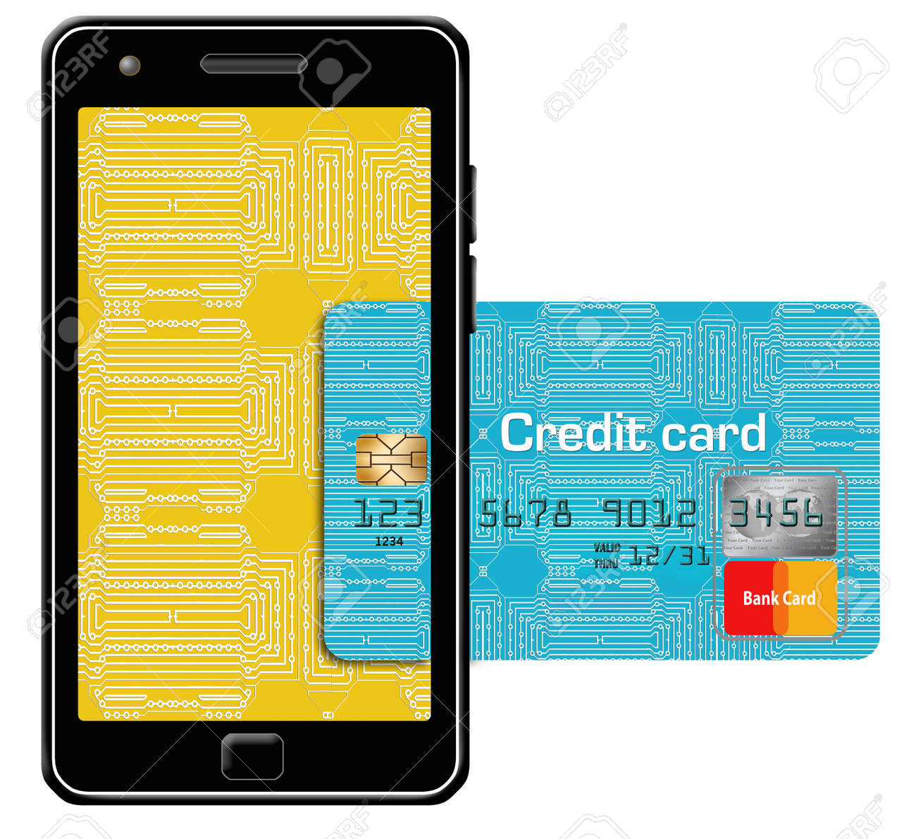 here is a generic mock safe to publish credit card combined with