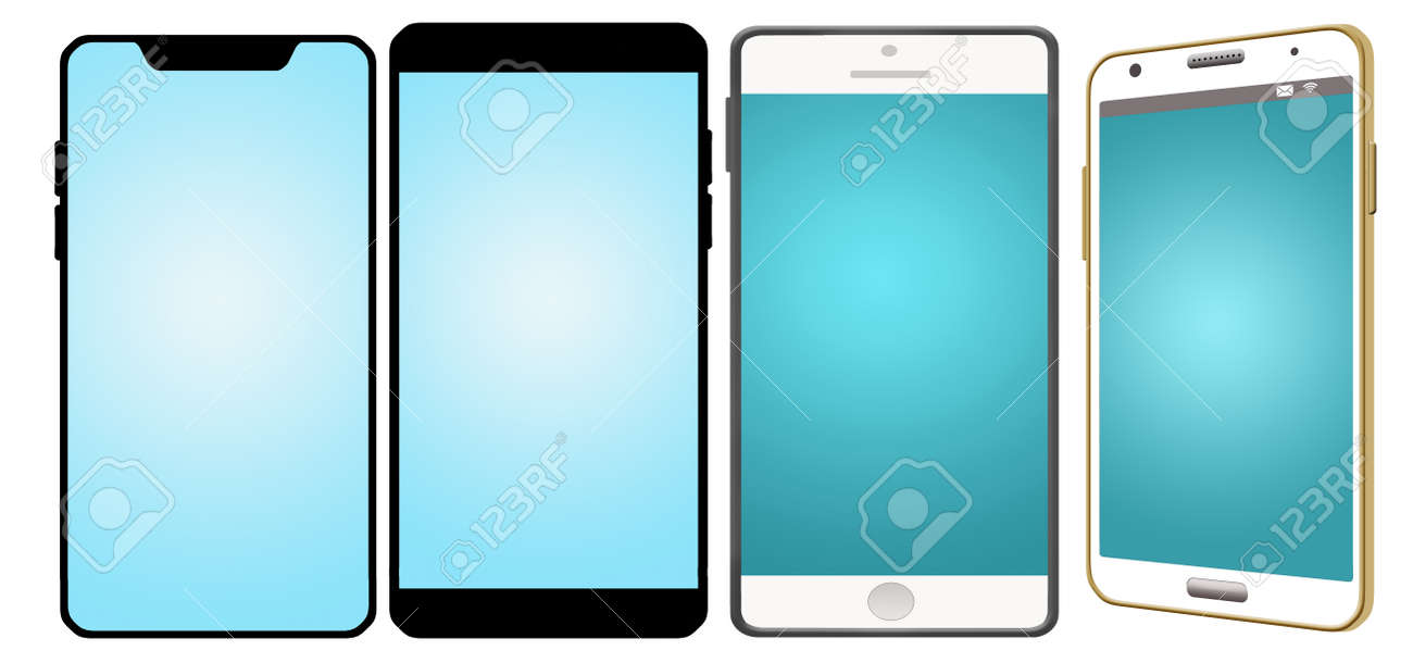 Graphic resoure image shows four cell phones with blank screens and isolated on a white background. - 153072794
