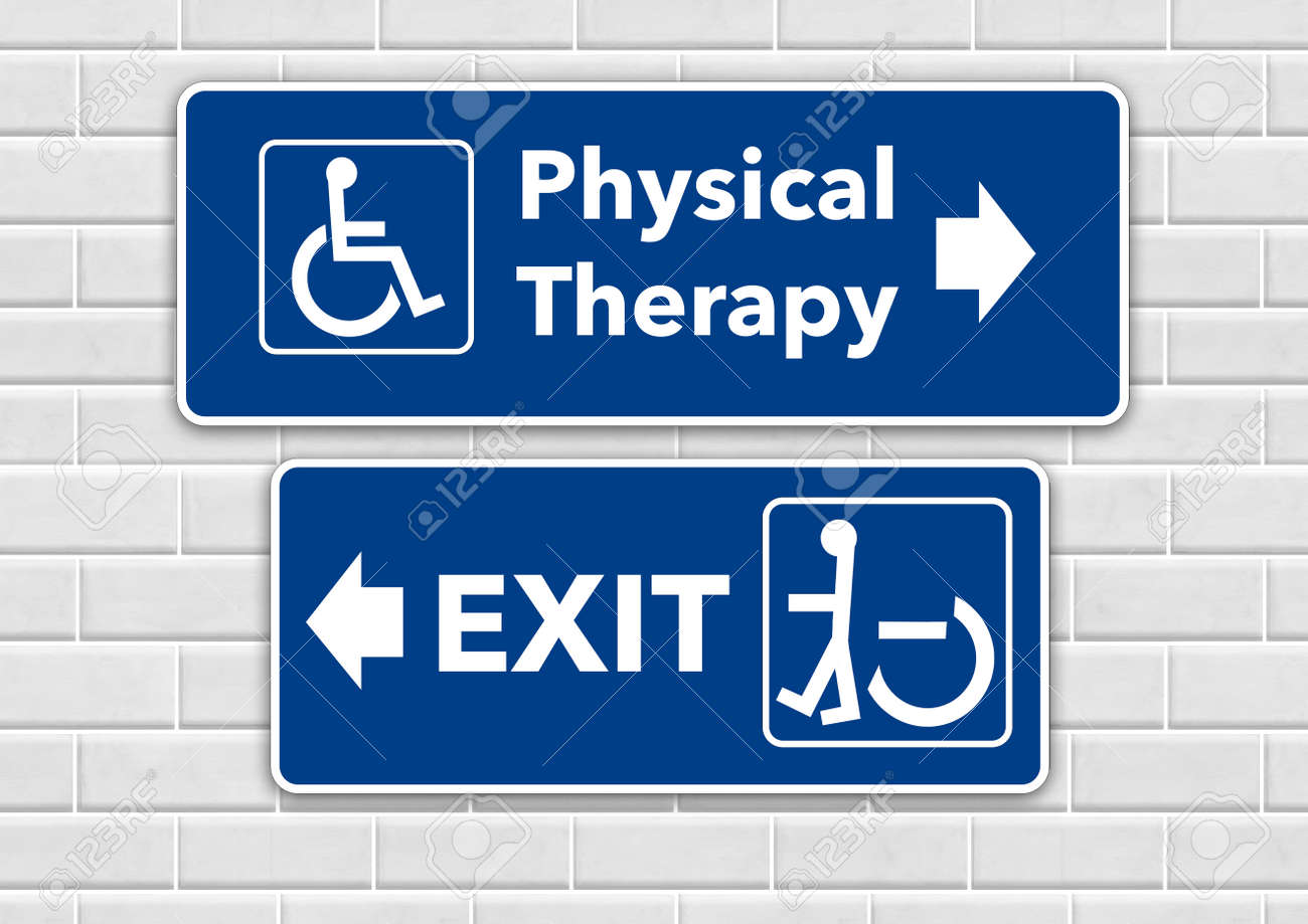 A wheelchair accessible sign points the way to physical therapy and pointing the other way toward the exit is a person standing in a wheelchair sign. - 155234495