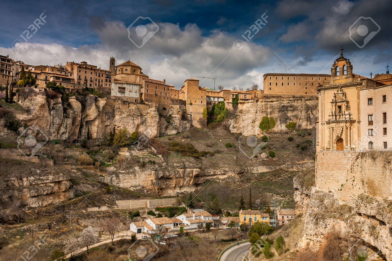 Cuenca, Spain, Hanging Houses, Medieval Town Situated In The Middle Of Two  Ravines