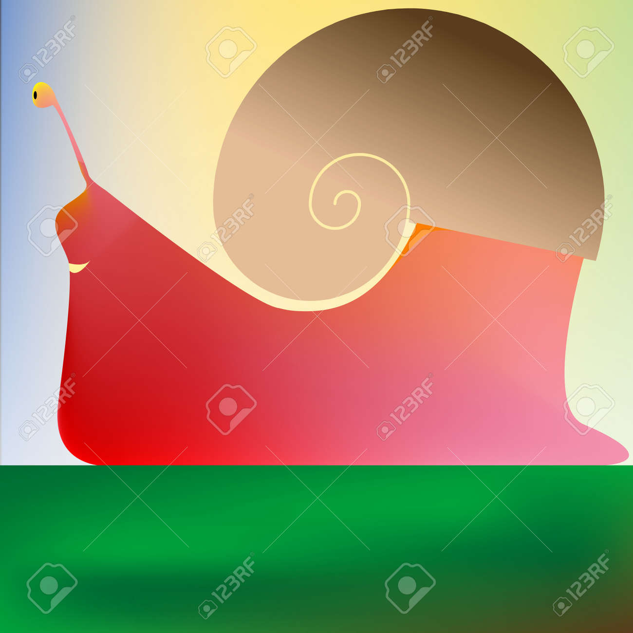 happy snail, vector art illustration Stock Vector - 6072143