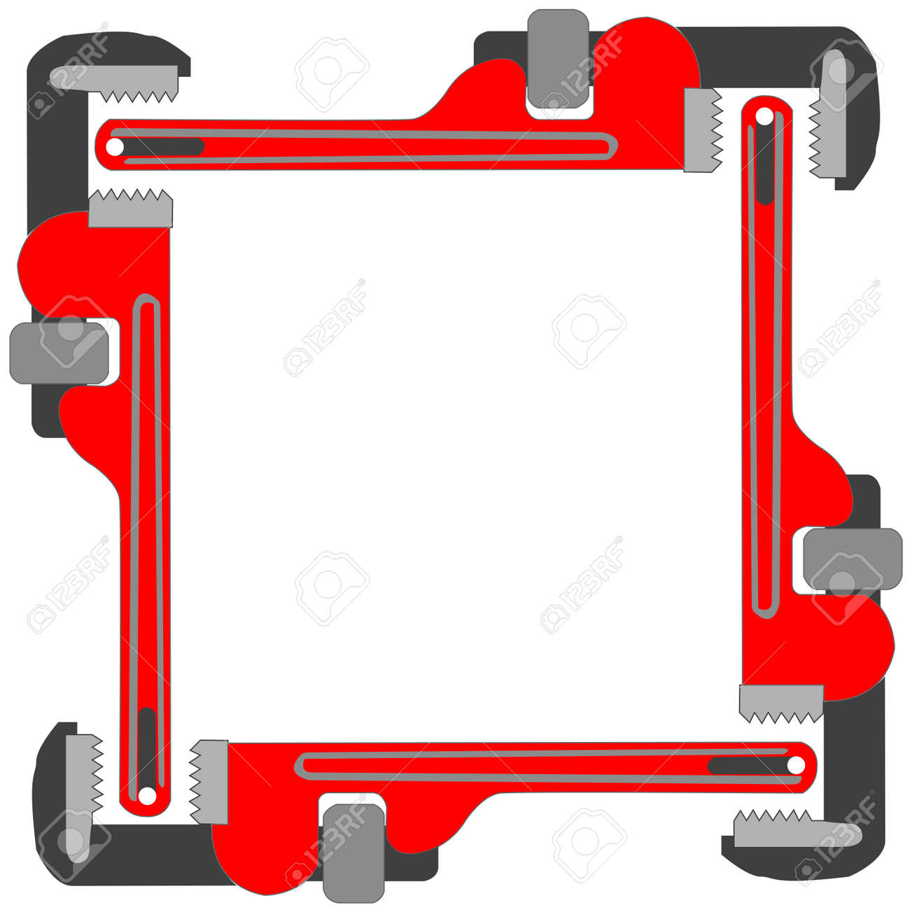 pipe wrench photo frame, vector art illustration; more photo frames in my gallery Stock Vector - 6110595