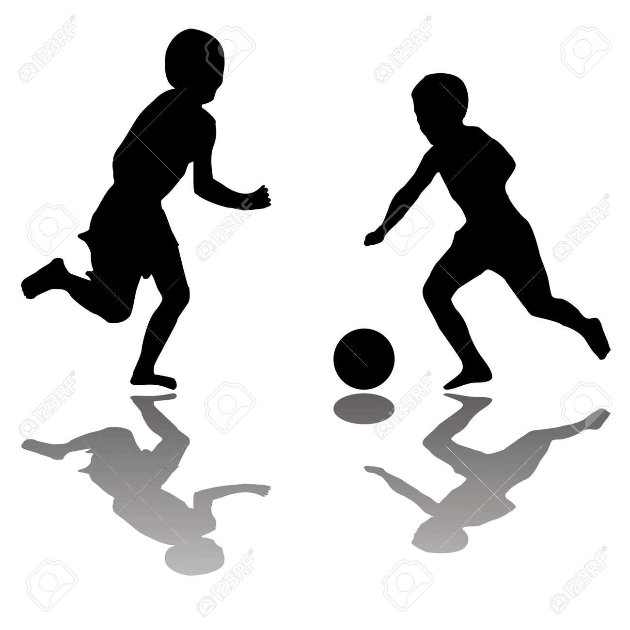 Vettoriale Bambini A Giocare A Calcio Nero Isolato Su Sfondo