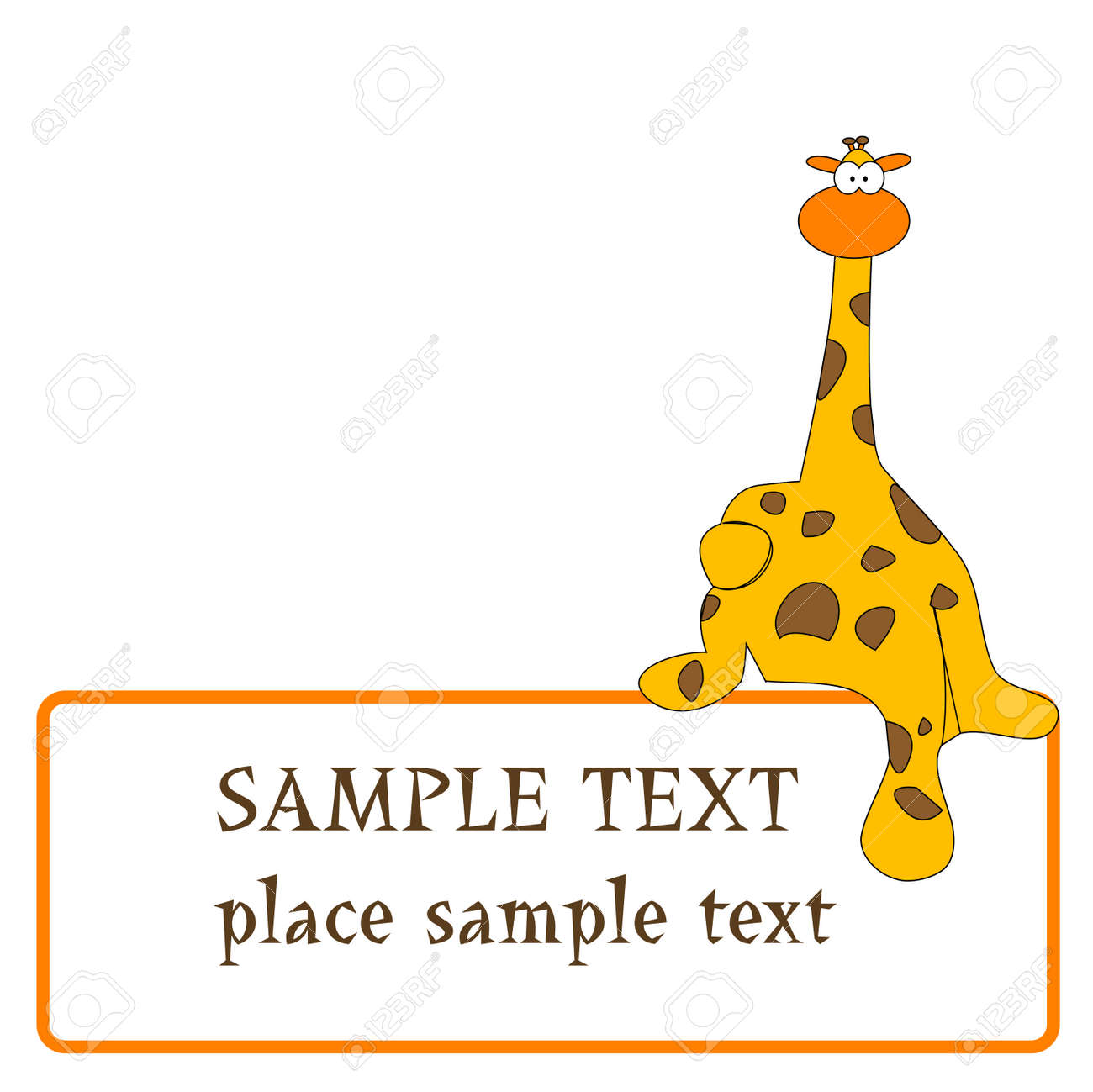 giraffe design with space for text, vector art illustration - 6130390