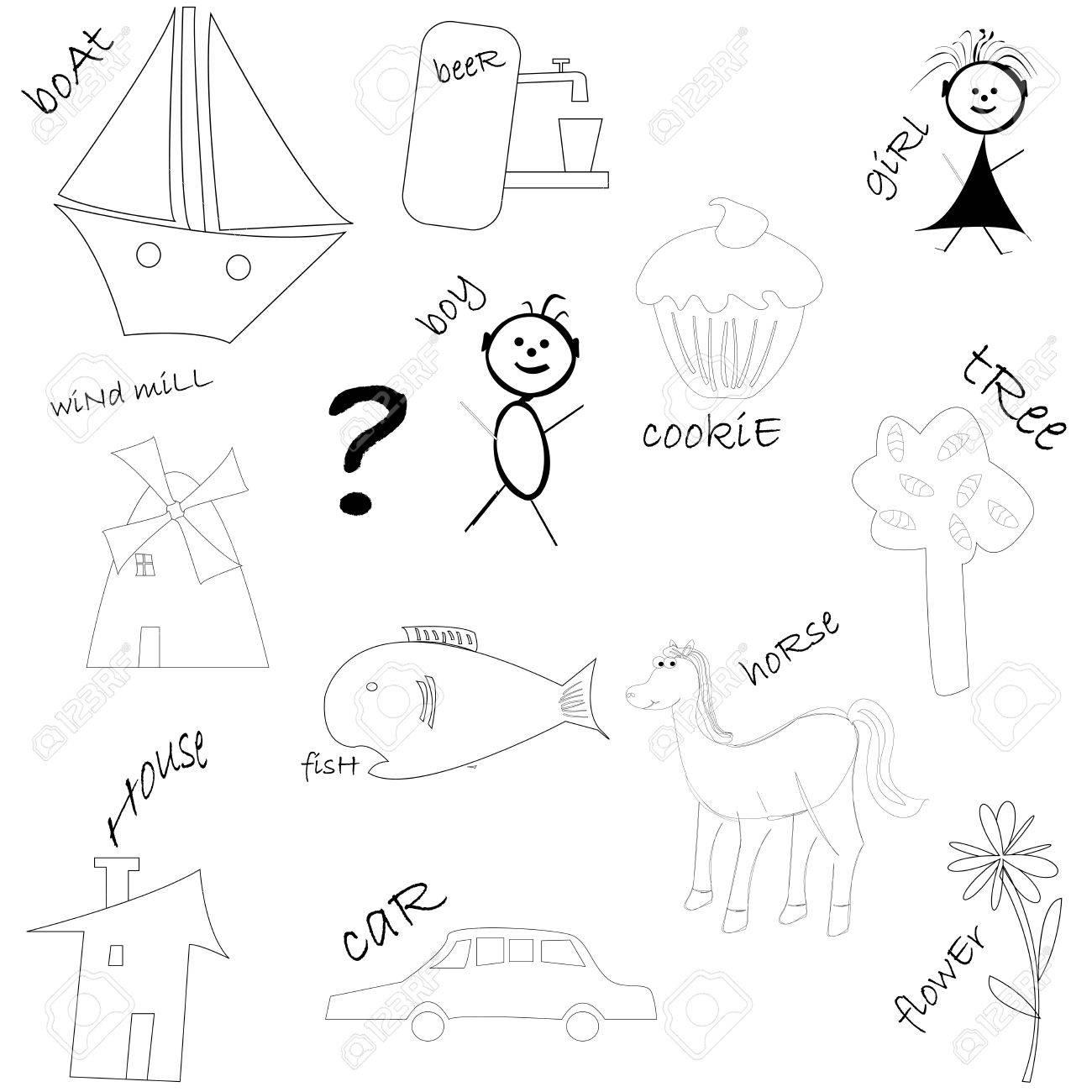 kids drawings, vector art illustration Stock Vector - 6130503