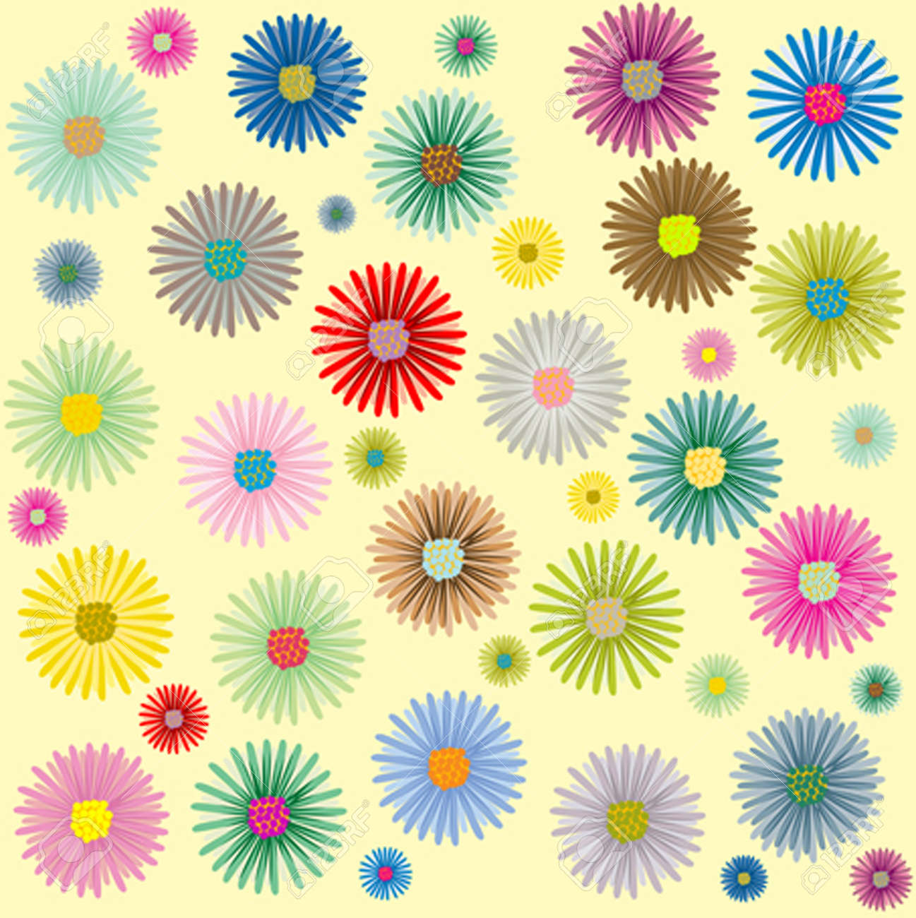 colored flowers pattern, vector art illustration; more patterns in my gallery Stock Vector - 6130643