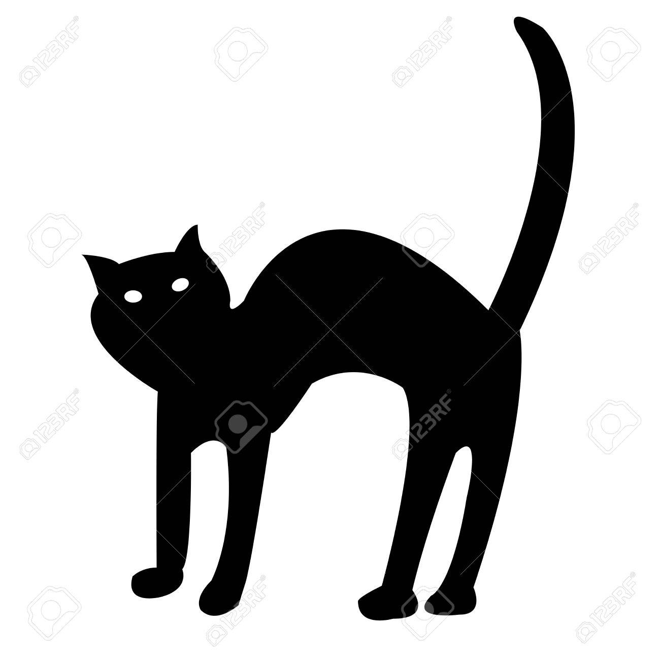 black cat isolated on white, vector art illustration; more drawings in my gallery Stock Vector - 6130678