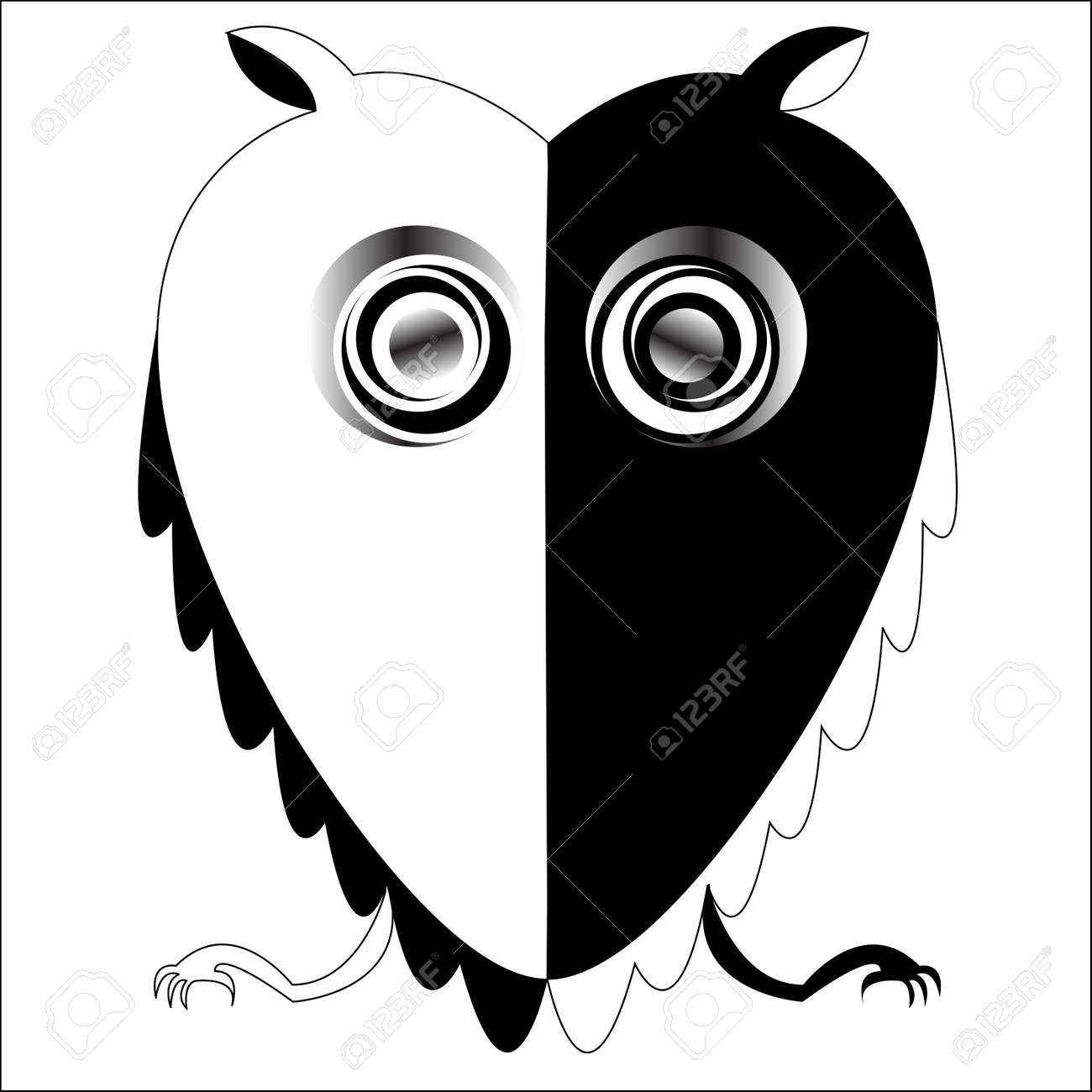 black and white owl vector art illustration more drawings in