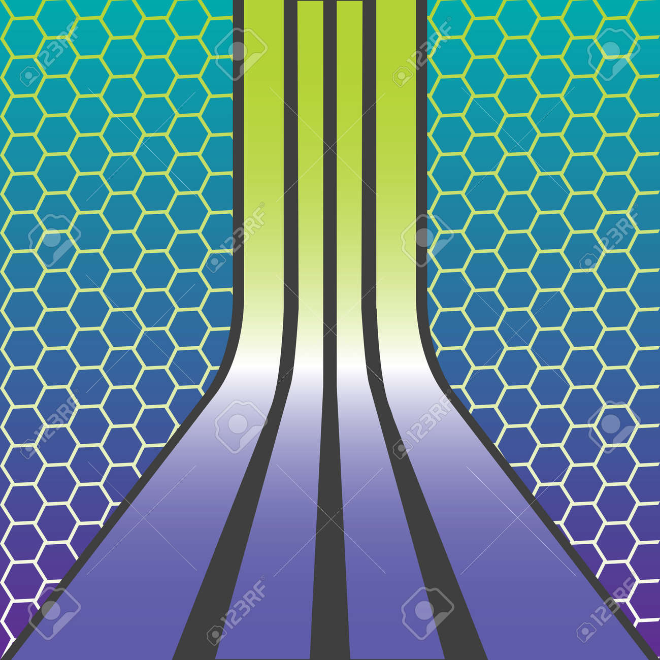 retro stripes composition over honey comb texture, abstract art illustration Stock Vector - 6690650
