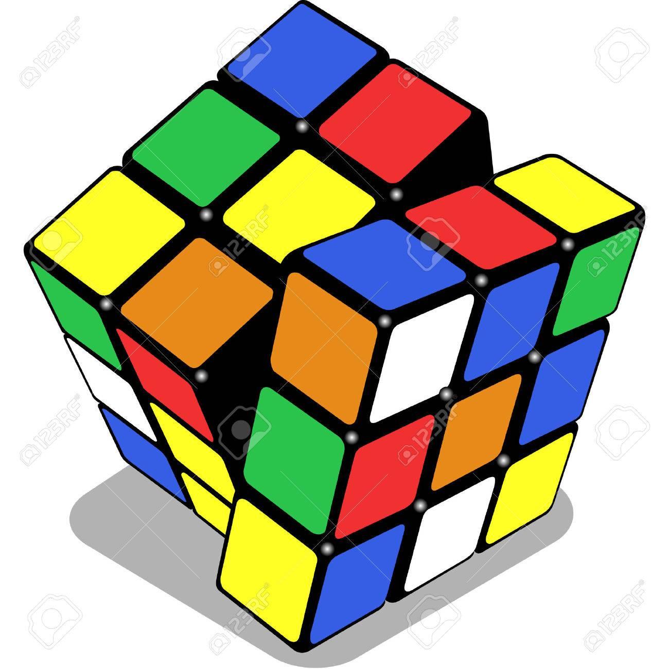 白い背景と抽象芸術イラスト上に分離されてルービック キューブ の写真