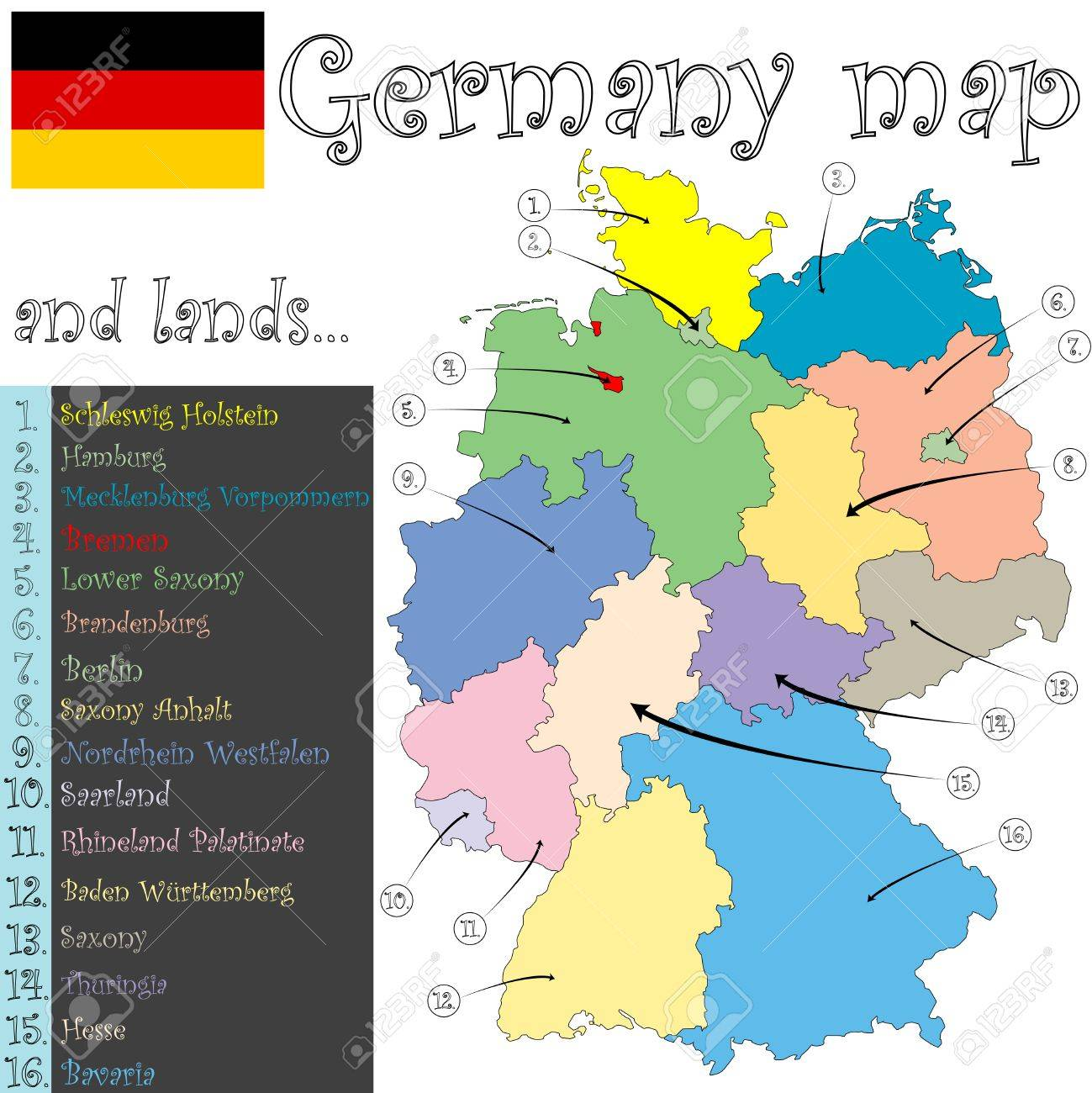 Germany Map And Lands Against White Background Abstract Art - Germany map lands