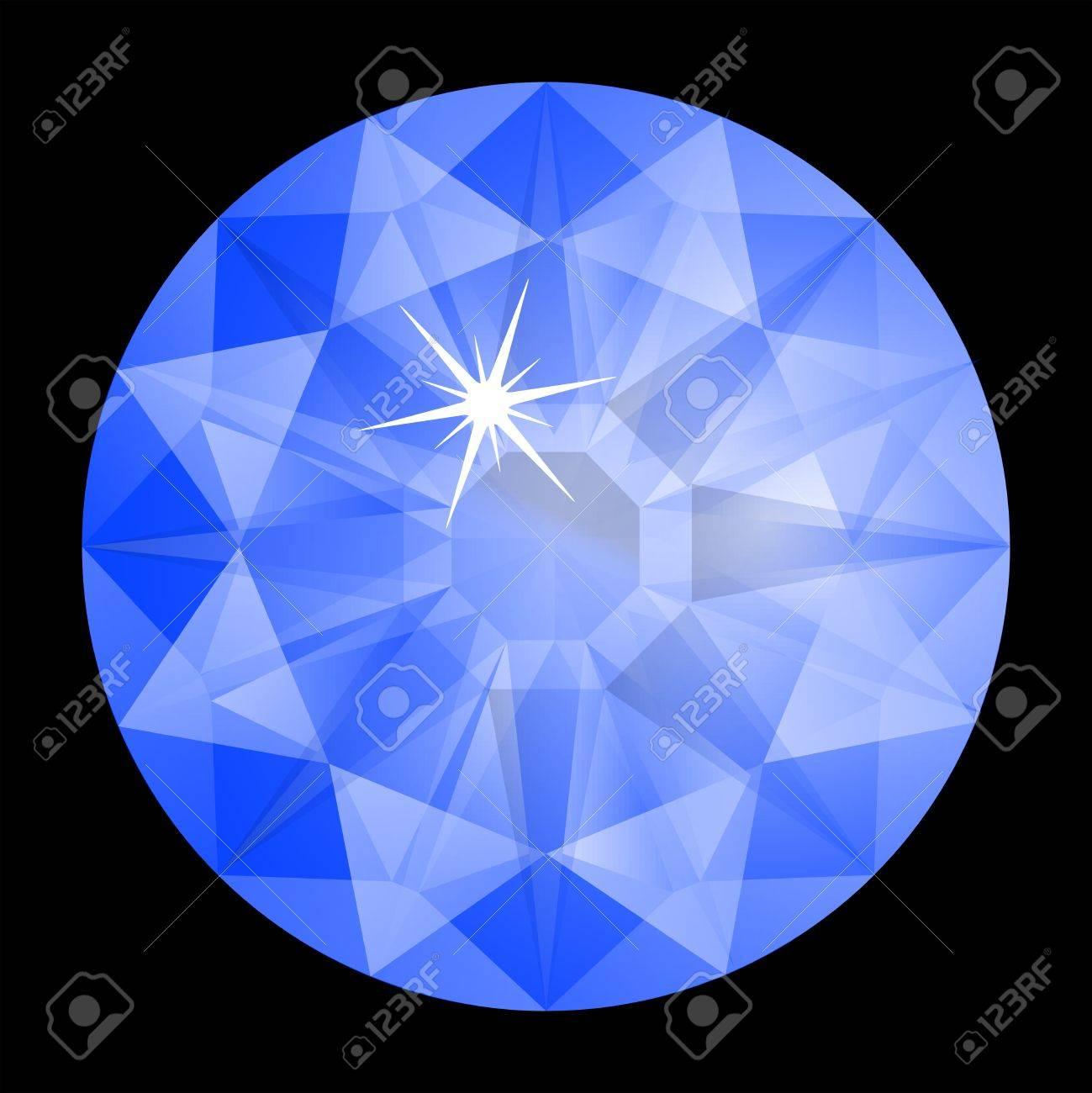 blue diamond against black background, abstract art illustration Stock Vector - 7068451