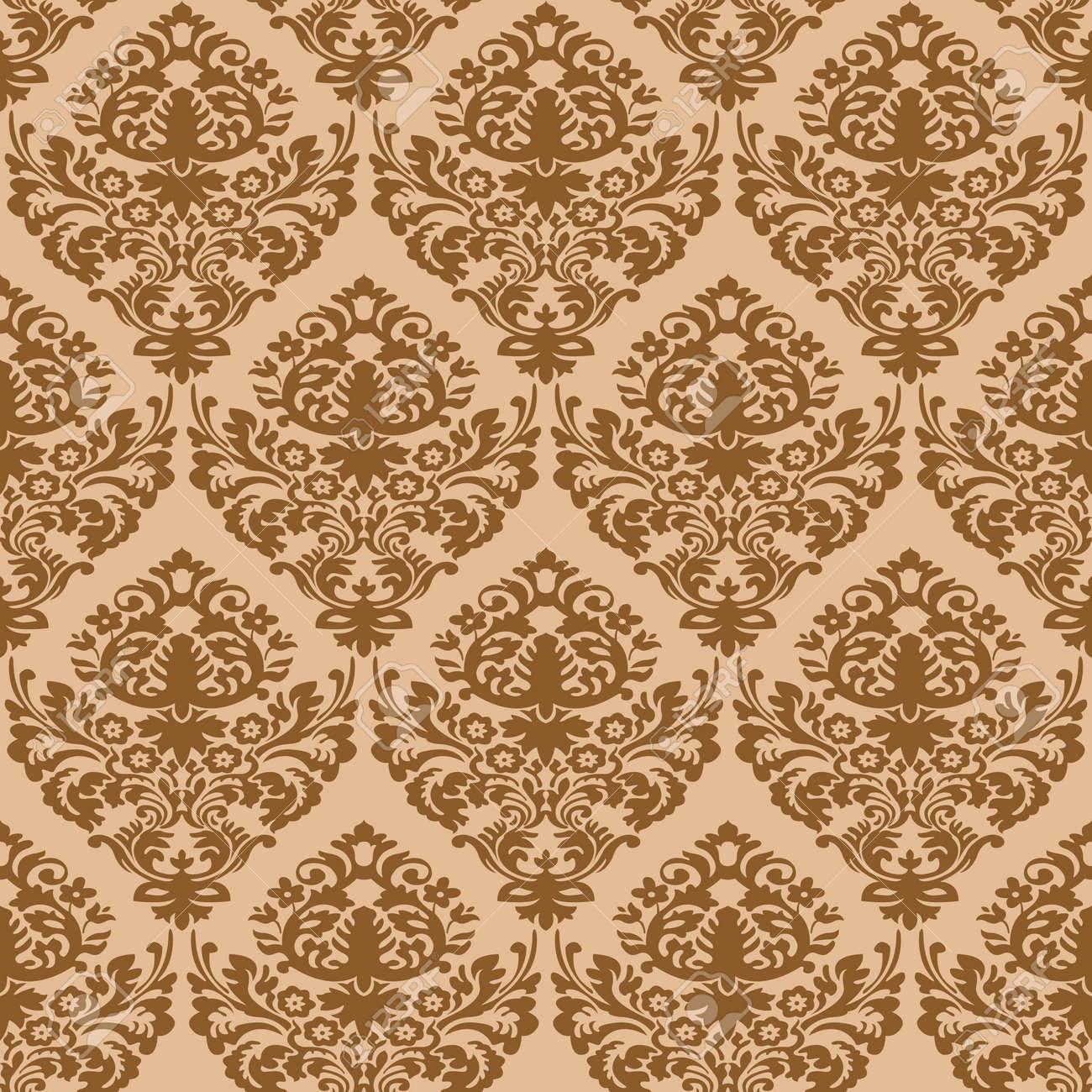 damask brown seamless texture, abstract pattern,  art illustration Stock Vector - 7068454