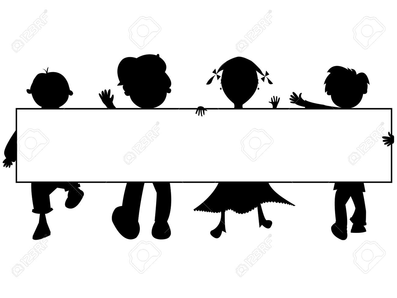 kids silhouettes banner Stock Vector - 7304113