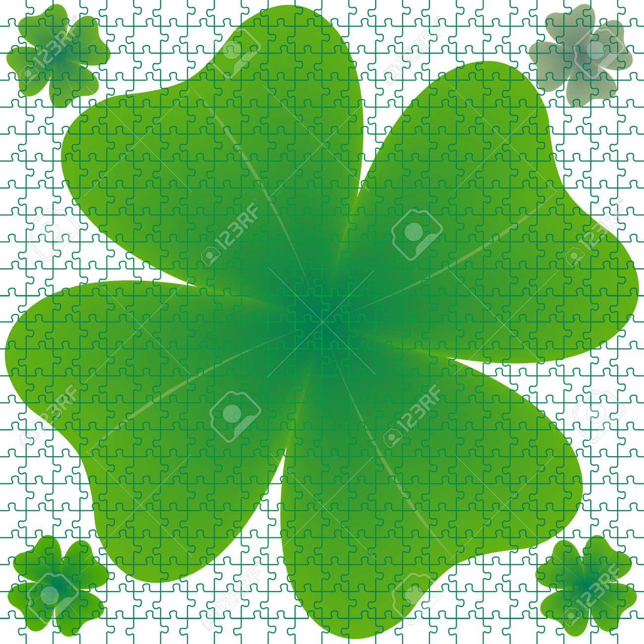 clover puzzle, abstract art illustration Stock Illustration - 7325681