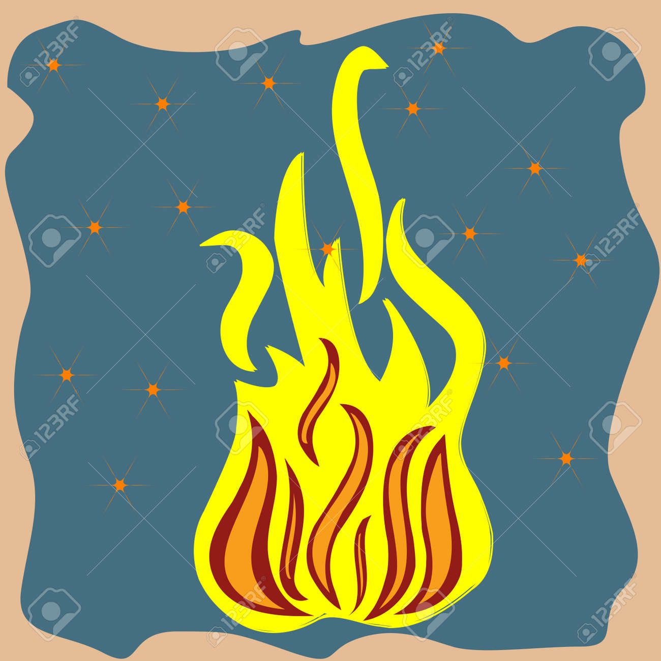 flames and stars on brown background Stock Photo - 7324491