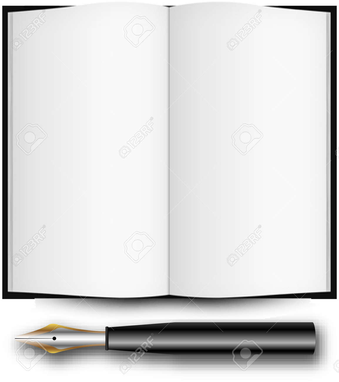 fountain ink pen and open book over white background, abstract art illustration Stock Photo - 7323747