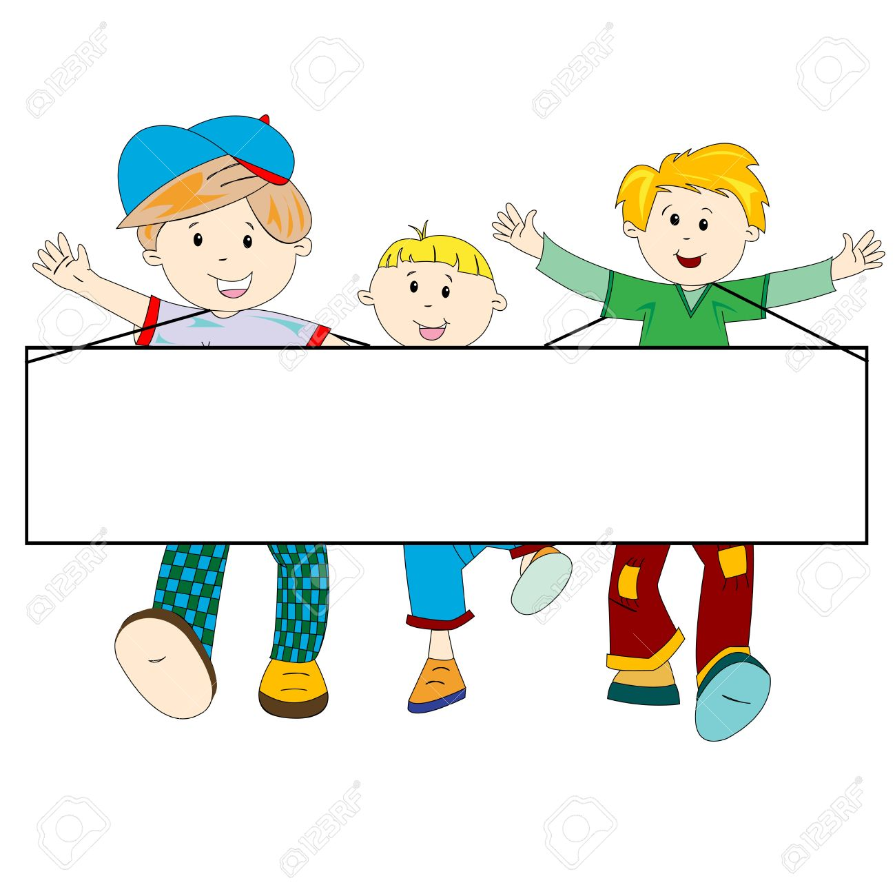 happy kids cartoon with blank banner against white background, abstract art illustration Stock Photo - 7322604