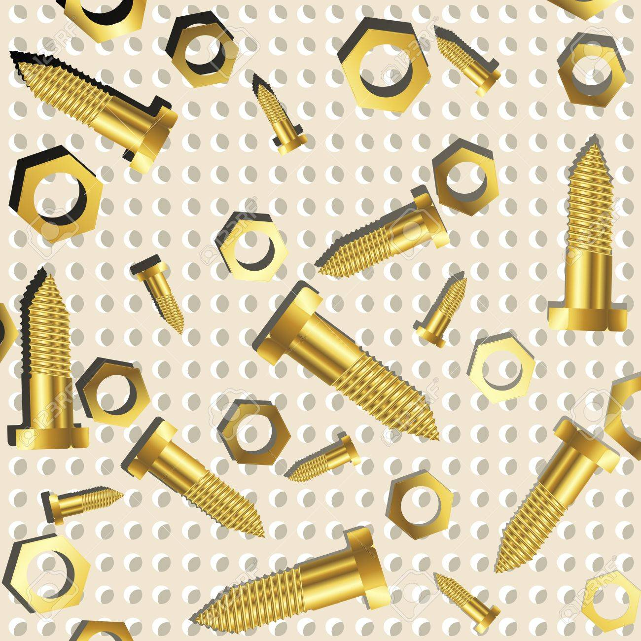 screws and nuts over metallic texture, abstract art illustration Stock Photo - 7325603