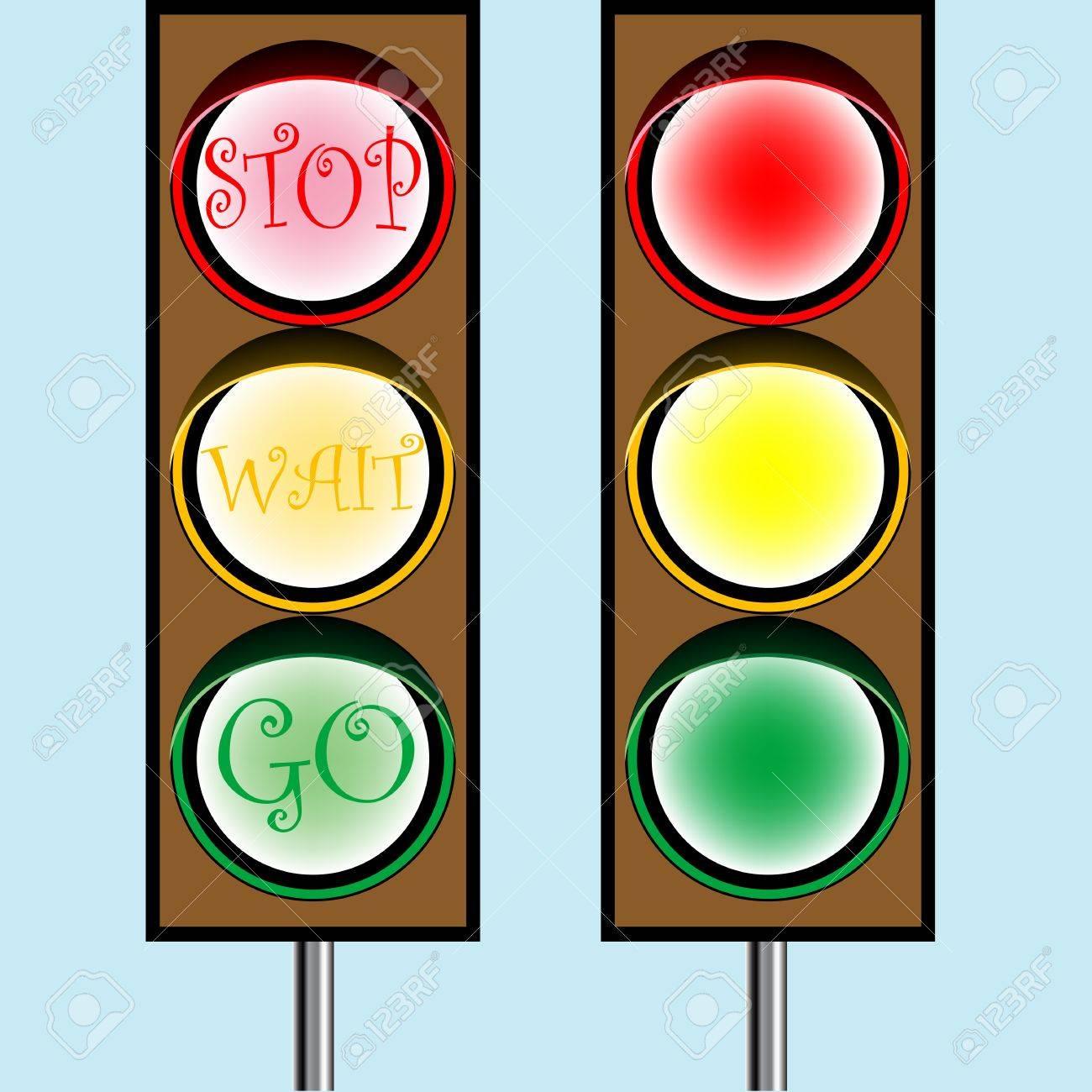 traffic lights cartoon, abstract art illustration Stock Photo - 7324465