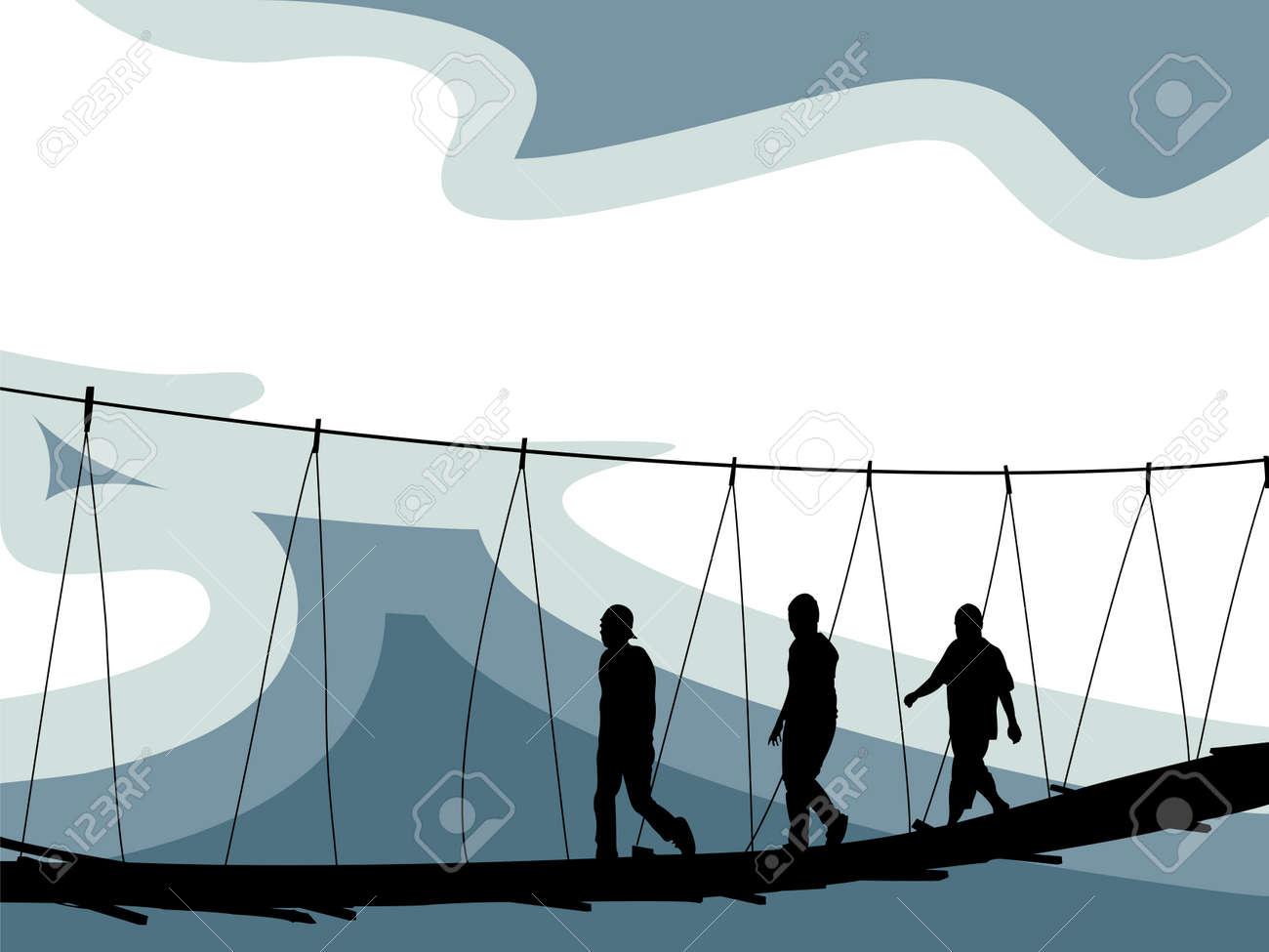 crossing bridge composition, abstract vector art illustration Stock Vector - 7417368