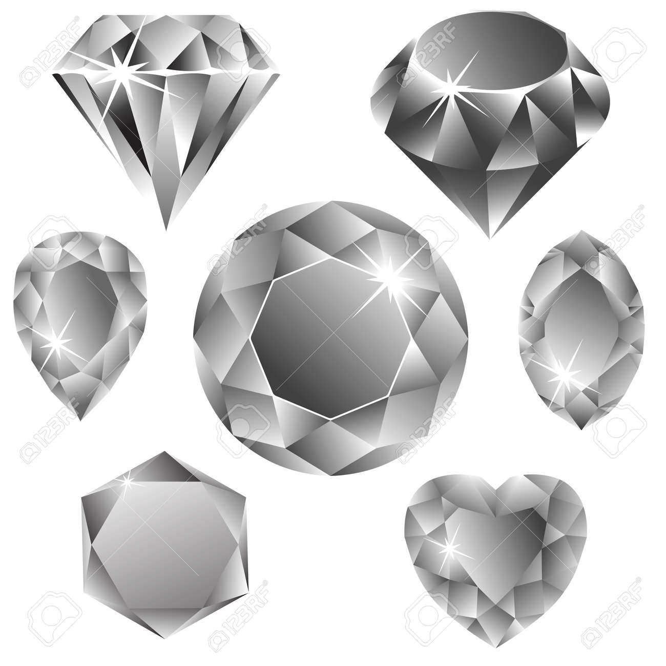 diamonds collection against white background, abstract vector art illustration Stock Vector - 7590717