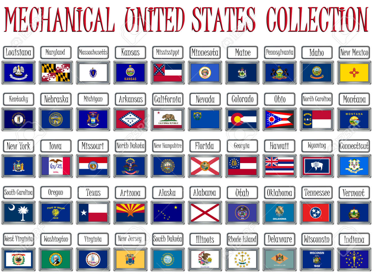 mechanical united states flags collection against white background, abstract vector art illustration Stock Photo - 8544899