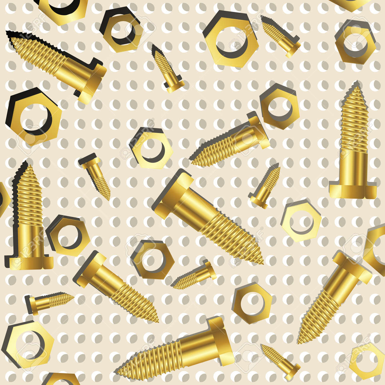screws and nuts over metallic texture, abstract art illustration Stock Photo - 8545041