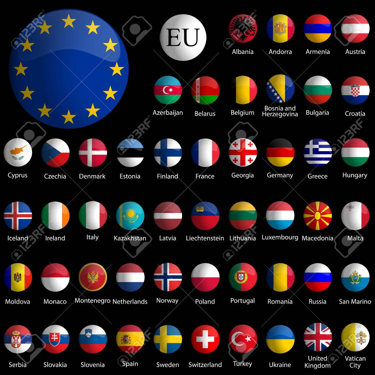 europe glossy icons collection against black background, abstract vector art illustration Stock Vector - 9264854