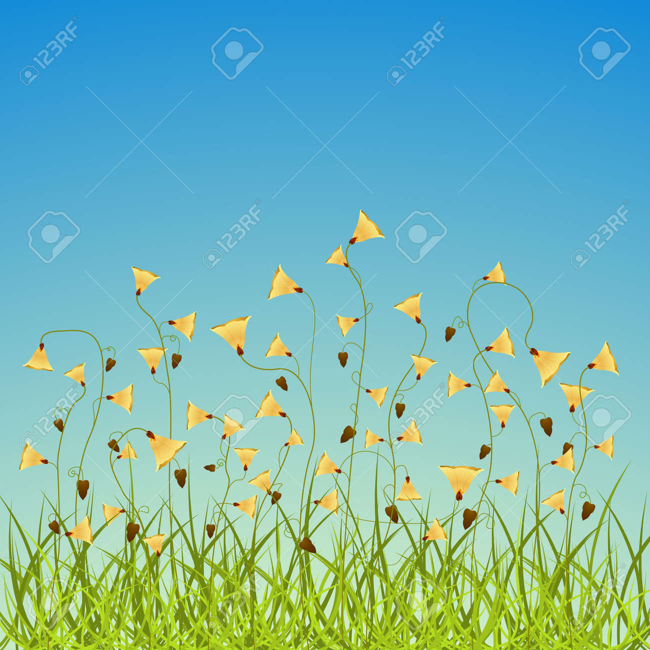 spring flowers field, abstract vector art illustration; image contains transparency Stock Vector - 10263400