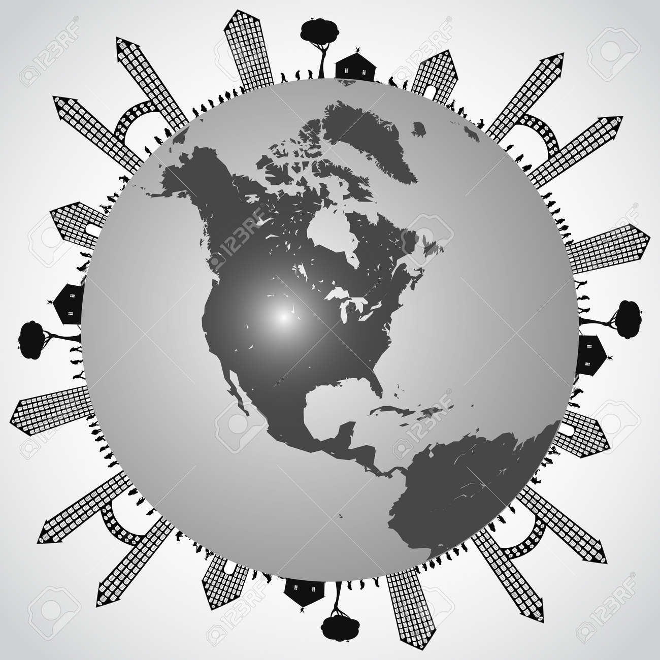 populated earth, abstract vector art illustration Stock Vector - 11968514