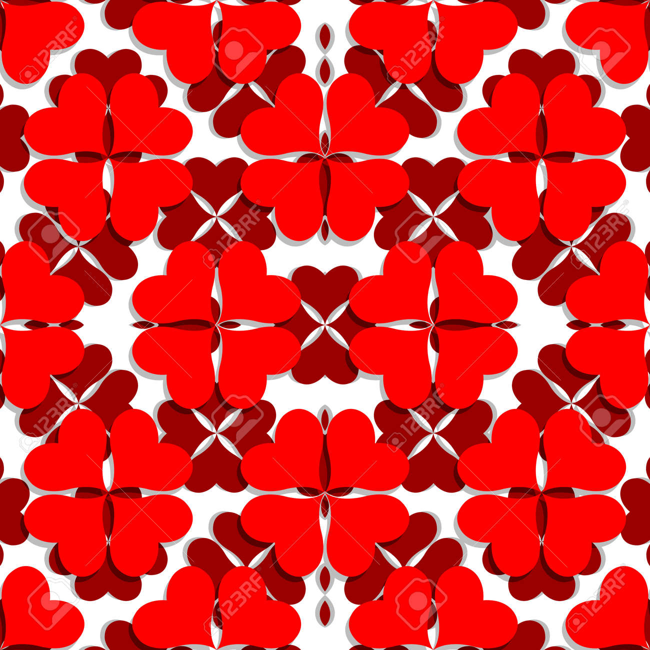 valentine pattern with shamrock shaped hearts, abstract seamless texture; vector art illustration Stock Vector - 12156736