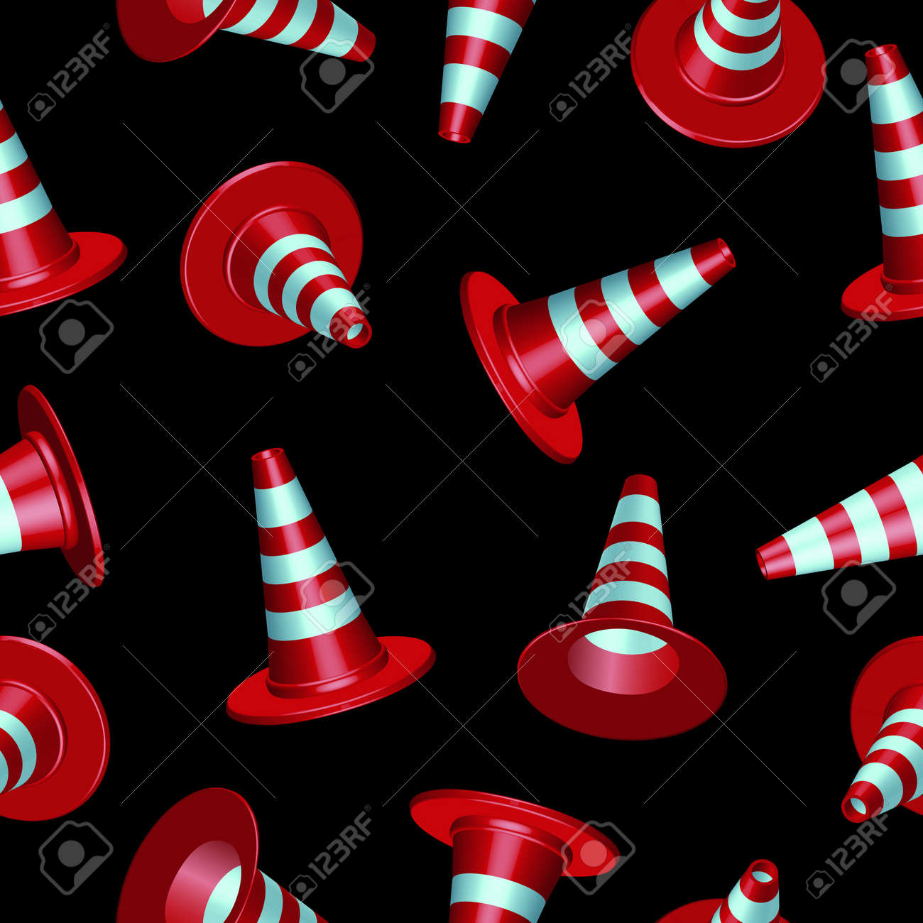 traffic cones with round base pattern against black background Stock Vector - 12485759