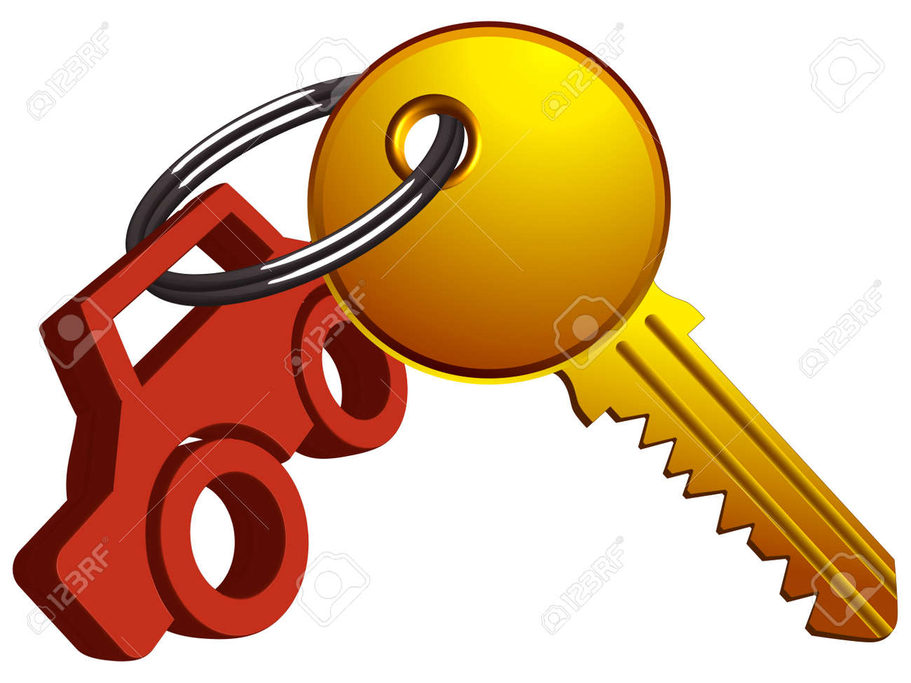 car and key on the same ring against white background, abstract vector art illustration Stock Vector - 13435113