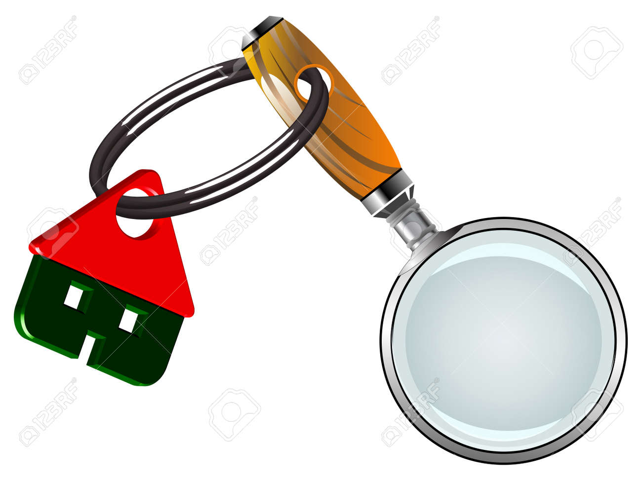 house and magnifying glass against white background, abstract vector art illustration Stock Vector - 17721985