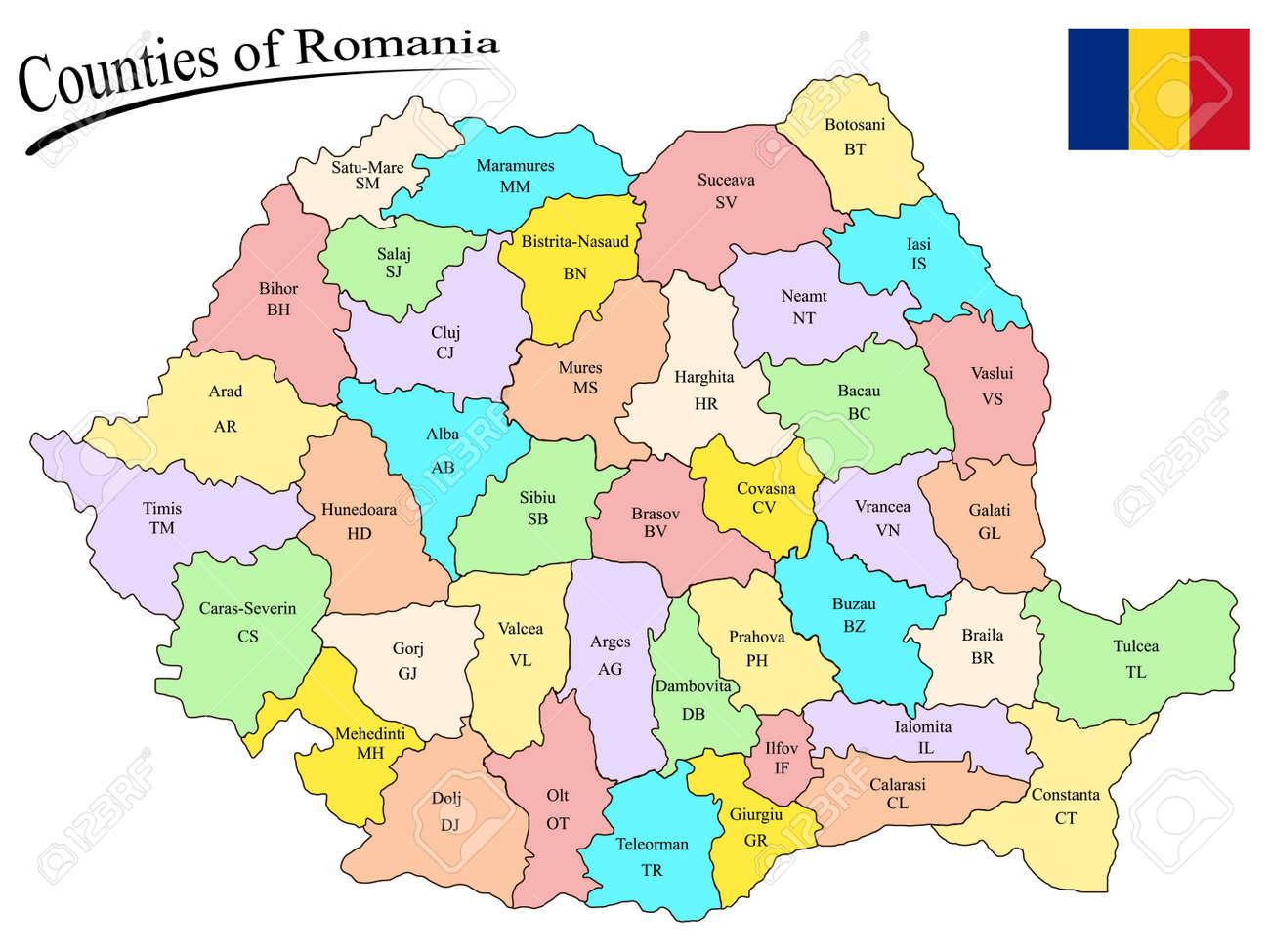 Grafschaften Romania Auf Der Karte Und Flagge Von Rumanien Vor
