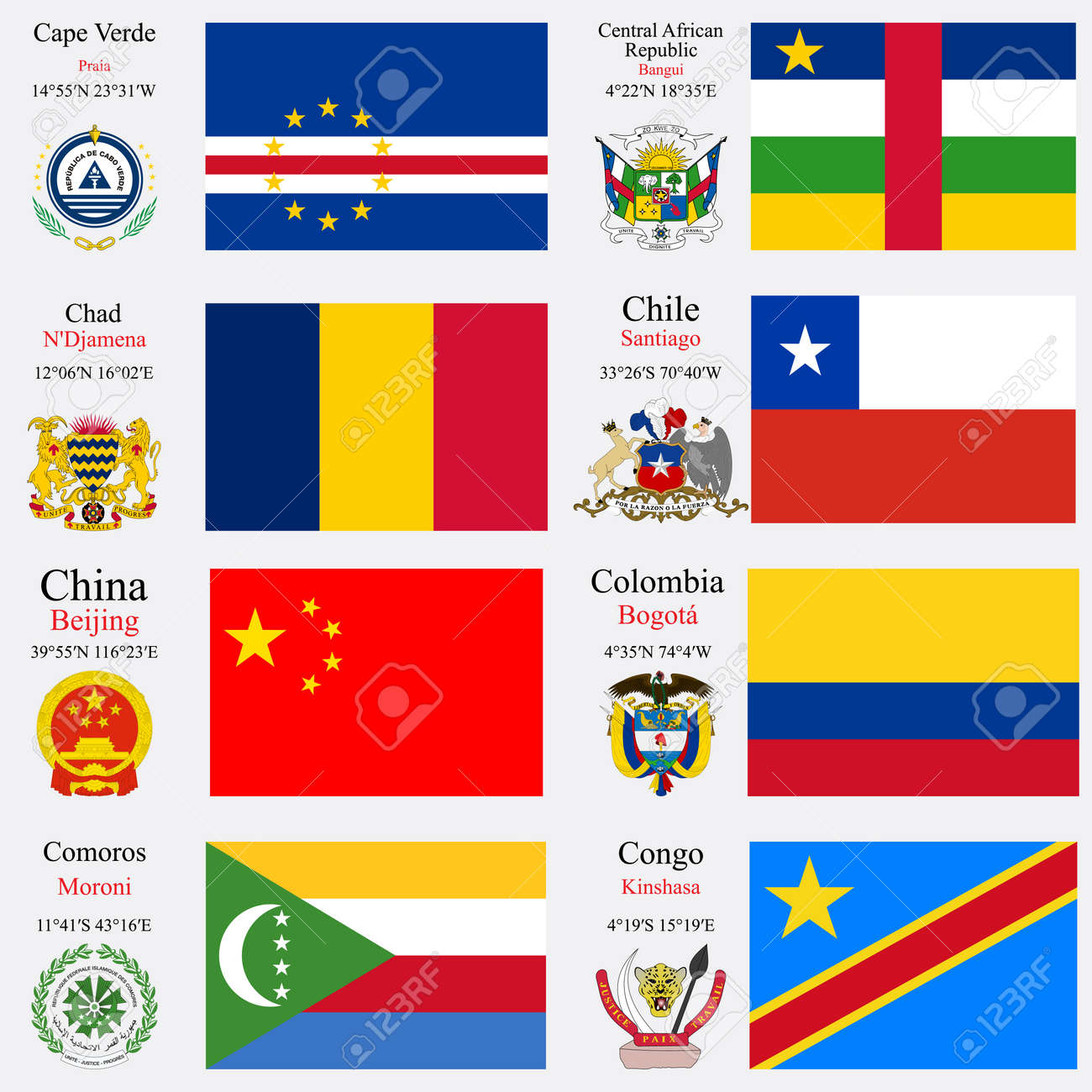 world flags of Cape Verde, Central African Republic, Chad, Chile,