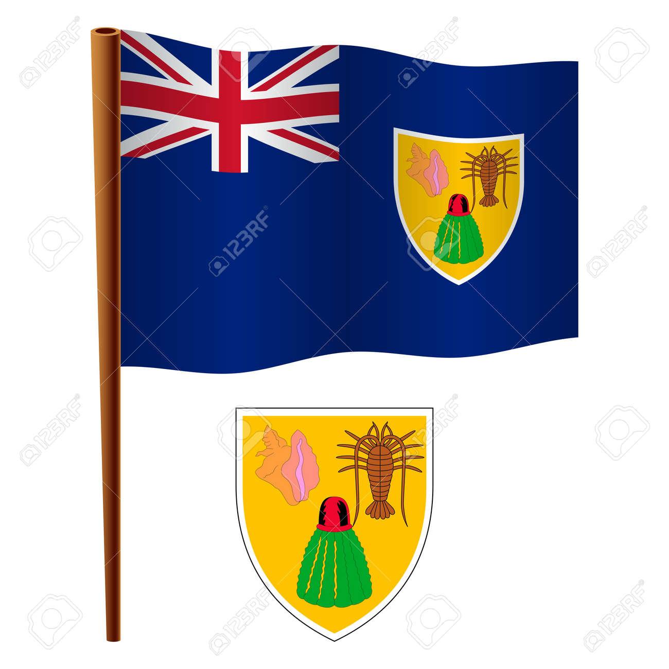 Islas Turcas Y Caicos Ondulado Bandera Y Escudo De Brazo Contra El