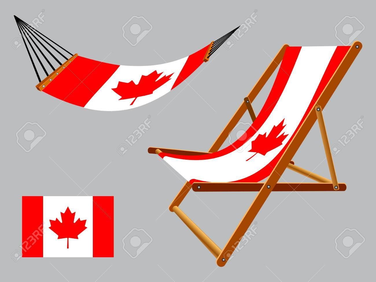 Lo Sdraio O La Sdraio.Canada Amaca E Sedia A Sdraio Set Contro Lo Sfondo Grigio