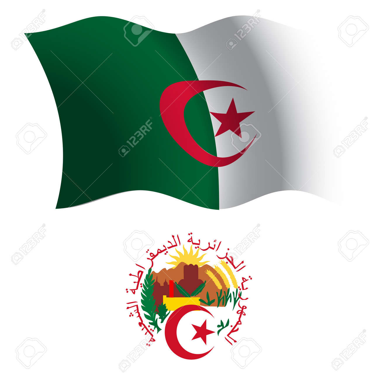 algeria wavy flag and coat of arms against white background, vector art illustration, image contains transparency Stock Vector - 21366028