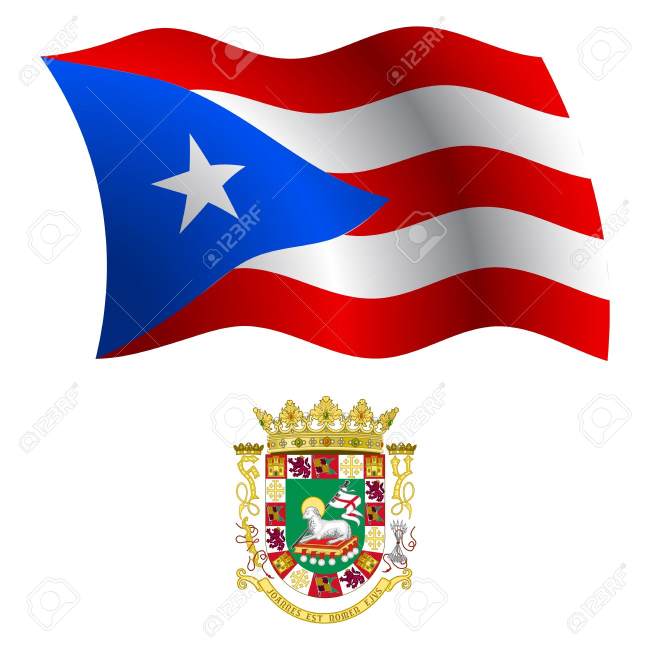 Puerto rico wavy flag and coat of arm against white background puerto rico wavy flag and coat of arm against white background vector art illustration biocorpaavc Image collections