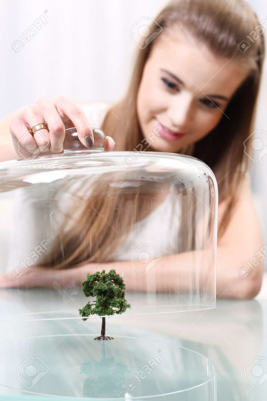 Girl covers a small artificial tree on the table, Ecological concept Stock Photo - 18498856